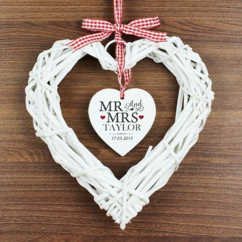 Mr & Mrs Wicker Heart Decoration